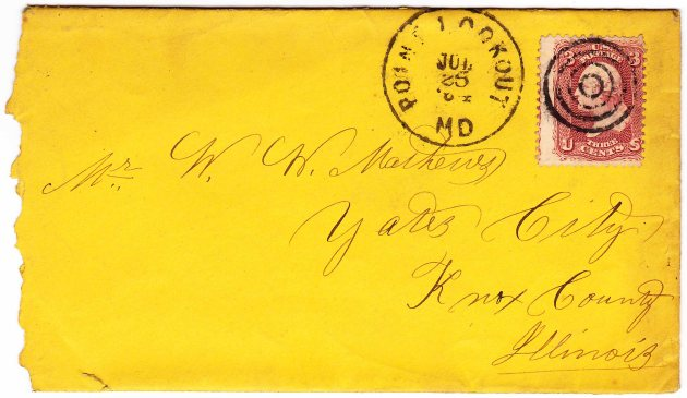 Envelope used by Mathews from Point Lookout Prison dated July 24, 1864