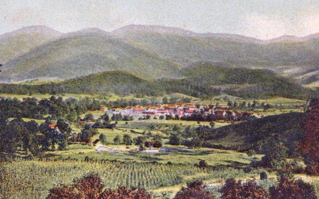 Waynesville, N.C., Lick Stone Range, Hazelwood from Junaluska Drive (postcard ca. 1900)