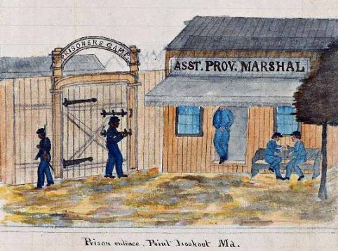 Color drawing by an unknown Confederate POW of the entrance to Point Lookout Prison, MD