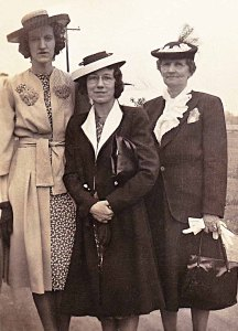Grace Green (middle) heading into town