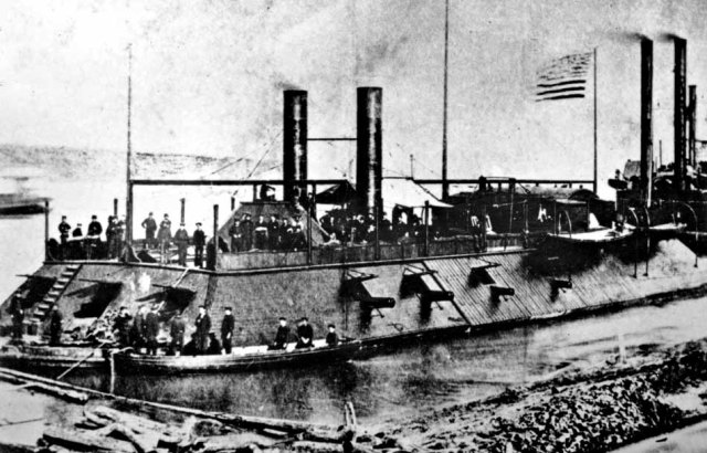 The U.S. Civil War gunboat Cairo, part of the Mississippi Fleet