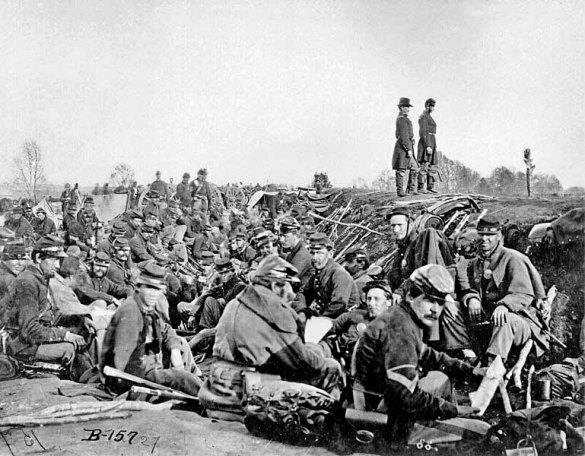 Union Soldiers in trenches before the Battle of Petersburg--June 9, 1864