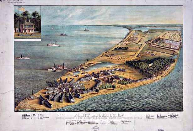 Point Lookout Prison, Maryland, 1864. The Potomac River is to the west, Chesapeake Bay is to the east. Hammond Hospital is located at the southern tip of the peninsula; the prison-pen is at the top right.
