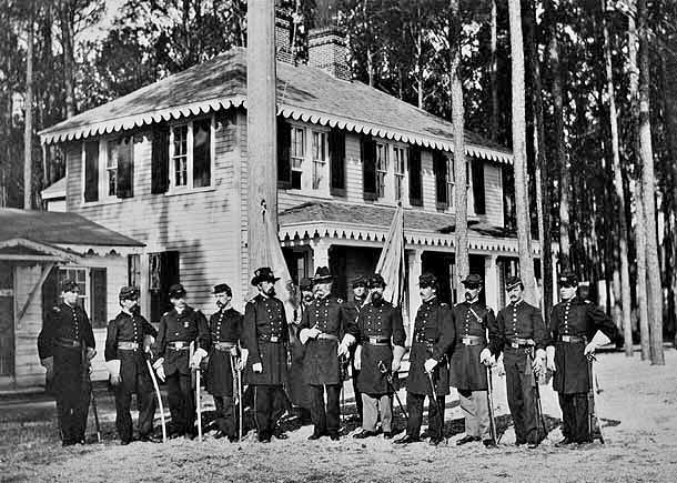 Headquarters and Command Staff at Point Lookout Prison. Brigadier General James Barnes, center.