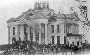 U.S. Flag flying over the Vicksburg Courthouse after the Siege