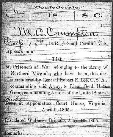 Miles C. Compton surrenders at Appomattox