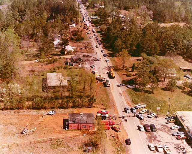 Aerial view of the crash site