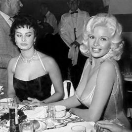 Sophia Loren (left) and Mansfield at Romanoff's in Beverly Hills