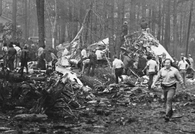 First Responders looking for survivors after the crash of Southern Airways Flight 242
