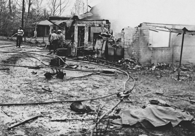 View of the burned and destroyed Newmans Store