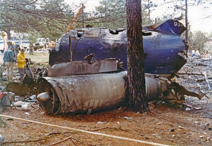 The remains of the left jet engine from Southern Airways Flight 242