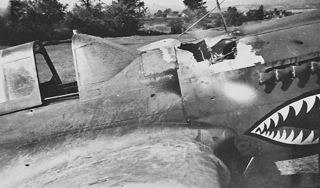 P-40 after an enemy strafing