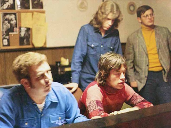 (L-R) Jimmy Johnson, Mick Jagger, Mick Taylor, and Terry Woodford at the Muscle Shoals Sound Studio in Sheffield, Alabama. The Rolling Stones recorded Brown Sugar, Wild Horses, and You Gotta Move at MSSS from December 2-4, 1969.