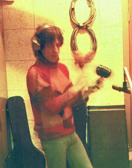Mick Jagger recording the percussion on Brown Sugar