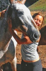 Lydia and Lucy, her blind rescue horse